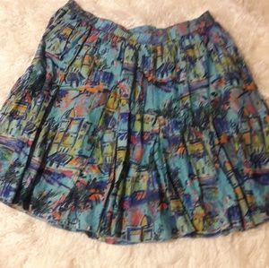 Circle Skirt with Cityscape Print